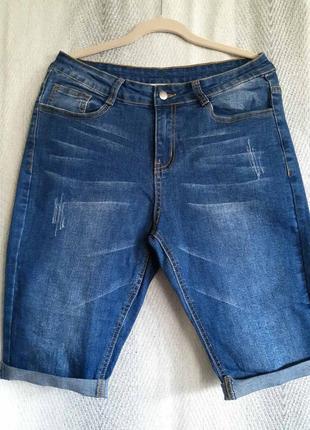 Женские синие  джинсовые стрейчевые шорты, бриджи, бермуды .  унисекс размер l