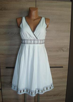 Платье хлопковое, хлопок, с вышивкой размер 8-10