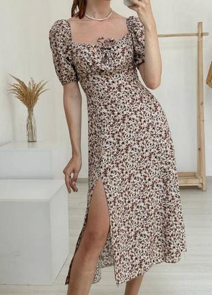 Платье миди цветочное с разрезом квітчаста сукня з розрізом