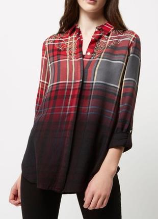 Рубашка в клетку, градиент, с термо-стразами, вискоза р. 14/40-eu - xl-xxl, от river island