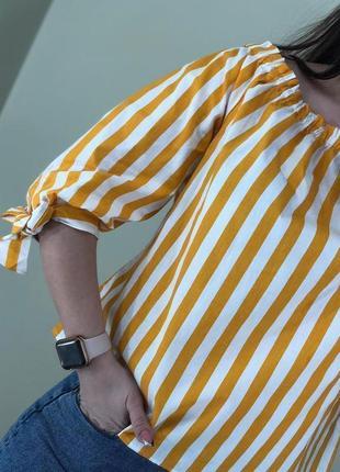 Коттоновая блуза топ в полоску со спущенными плечиками