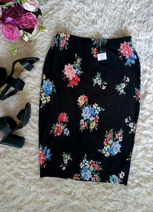 Стильная юбка карандаш в цветочек, цветочный принт, прямая юбка ниже колен