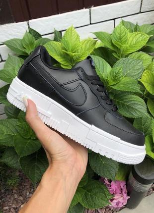 Стильные женские кроссовки кеды демисезонные nike air force чёрные найк форс