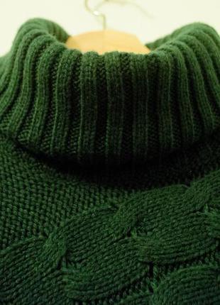 Теплое пончо зеленое темное бутылочное горловина гольф оверсайз винтаж ретро