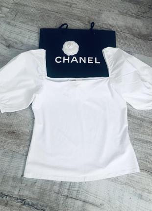 Новая блуза белая трендовая h&m квадратный вырез рукав буфы стильная модная