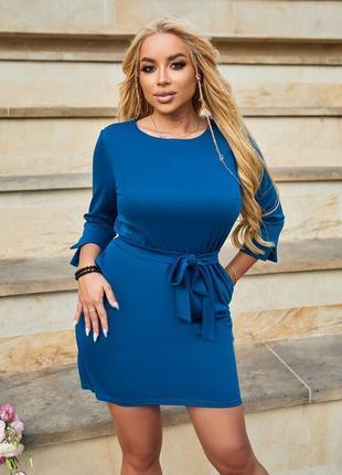 Синее платье мини с поясом.трикотаж.  💎💎💎 3 расцветки