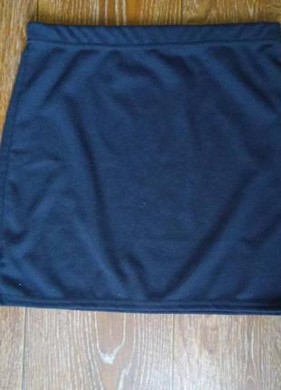 Женская короткая чёрная юбочка трикотажная юбка