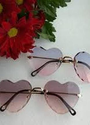 Солнцезащитные очки сердечки ❤️ градиент!!! в подарок!