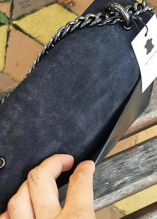 Сумка кожаная замшевая италия черная серая пудра красная4 фото