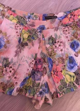 Шорты юбка, шорты в цветочный принт