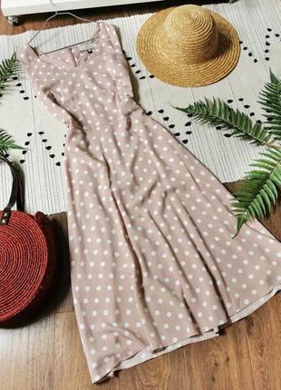 Пудрова сукня в горошок без рукавів dorothy perkins пудровое платье в горошек миди