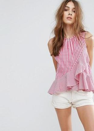Натуральная блузка в клетку без рукавов с оборками рюшами размер 6-8 new look