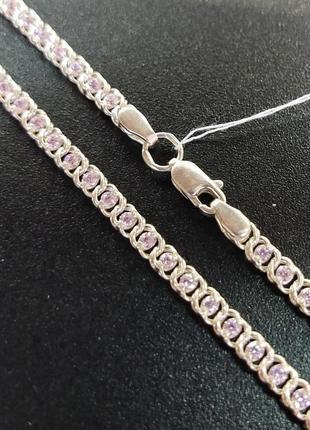 Серебряная цепочка с камнями арт 970221359