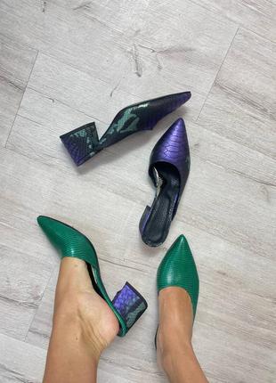 Эксклюзивные мюли натуральная итальянская кожа рептилия зелёные фиолетовые