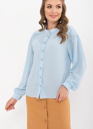 Блуза с длинным рукавом пыльная роза голубая черная креп шифон жатка xs s m l xl