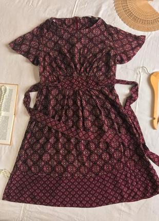 Нарядное бордовое платье с поясом из натуральной вискозы george (размер 12/40)