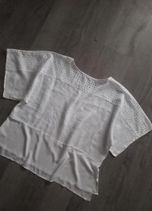 Италия,льняная блуза-топ с прошвой свободный крой❤️большой размер