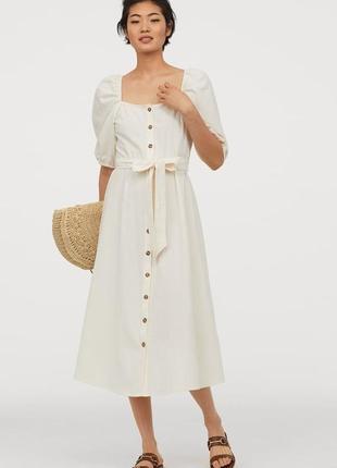 Летнее легкое платье из хлопкового крепа h&m хлопок 100%