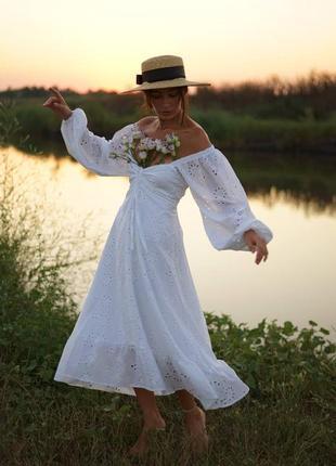 Женское длинное  белое хлопковое платье