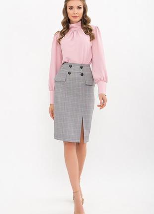Серая юбка карандаш клетка розовая костюмка xs s m l xl