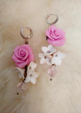 Новые нежные длинные серьги ручной работы роза 🌹 в лилиях