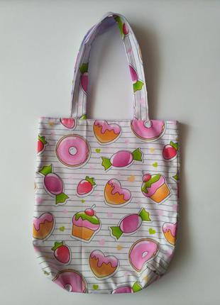 Хлопковая сумочка с конфетками ,сумка шопер, еко сумка, эко сумка из хлопка