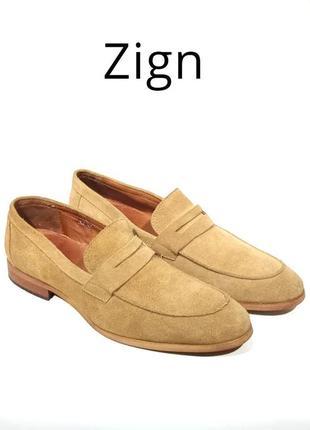 Кожаные мужские туфли лоферы zign оригинал. верх- натуральная замша, внутри гладкая кожа. р. 45-46,