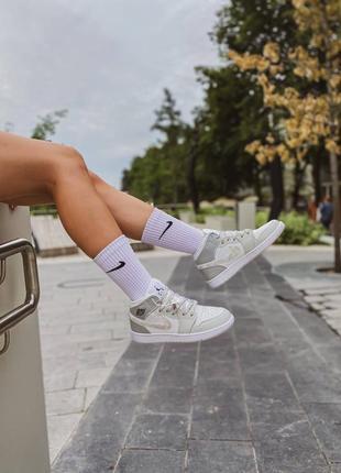 Jordan 1 retro grey camo высокие кроссовки серые