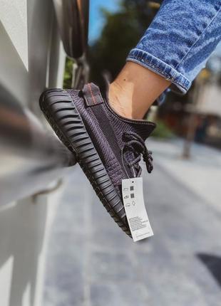 Текстильные кроссовки черные yezzy boost 350 v2 black   ( шнурки рефлектив )