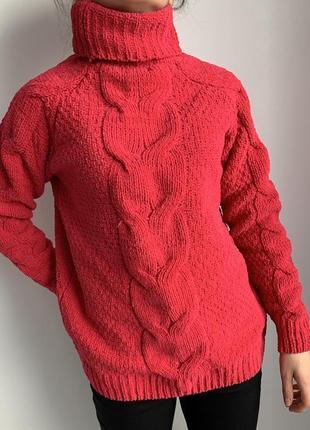 Яскрава кофта малинова гольф світер розовый свитер теплый свитер яркий свитер
