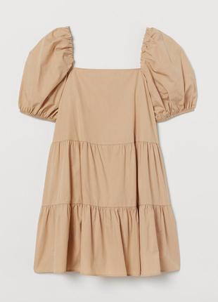 Летнее легкое платье с рукавами буфами h&m хлопок 100%