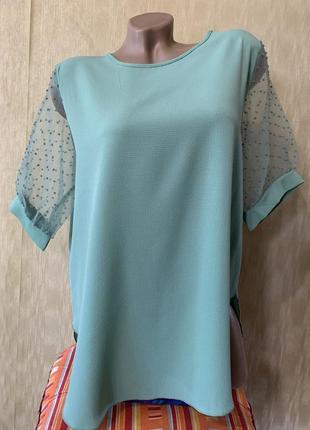 Блуза футболка с рукавами фонарик сетка