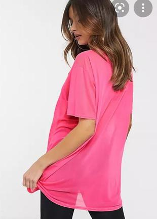 Неоновая розовая футболка удлиненная сетка неон
