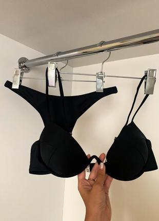 Чёрный модный женский купальник с твёрдой чашкой декольте вырез стринги бикини