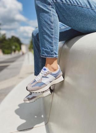 Nb 327 light grey blue кроссовки женские спортивные