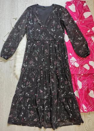 Черное цветочное длинное платье макси миди цветочный принт декольте на запах ярусами рукавами длинны