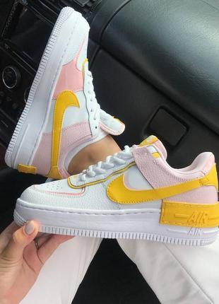 Кроссовки найк женские форсы аир форс кеды обувь взуття nike air force shadow yellow