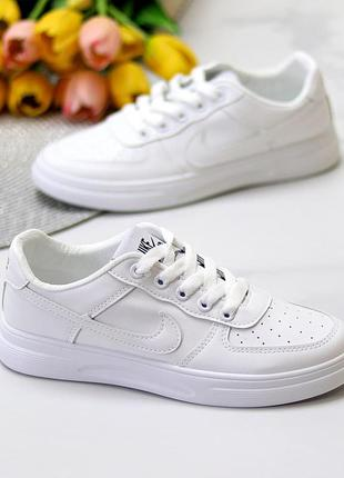 Удобные повседневные мягкие белые кроссовки с перфорацией на каждый день   к 11117