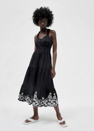 Платье zara из поплина с вышивкой лимитированная коллекция