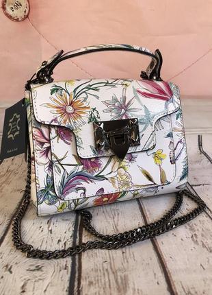 Итальянская сумочка клатч из натуральной кожи светлая белая borse in pelle шкіряна сумка біла