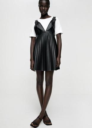 Платье сарафан zara юбка из эко кожи