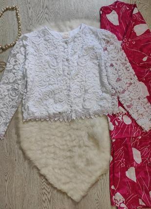 Белая ажурная короткая блуза с пуговицами накидка болеро нарядная гипюр с цветочной вышивкой