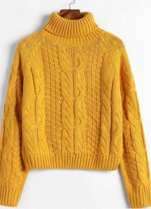 Укороченный свитер, вязаная кофта, гольф, трендовый свитер, желтая кофта, светр.