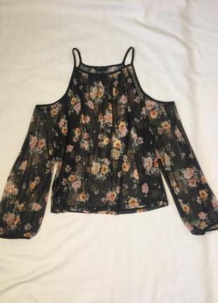 Топ сетка, цветочный принт, открытые плечи, uk18
