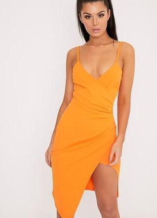 Краивое яркое платье по фигуре от prettylittlething рр 12 наш 46