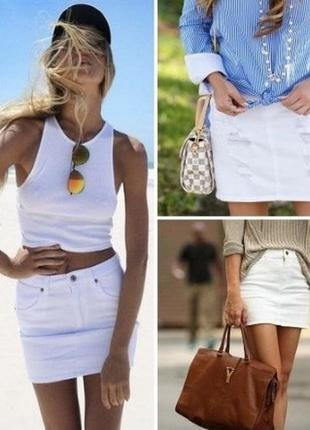 Bpc белая джинсовая юбка мини с рваностями по бокам