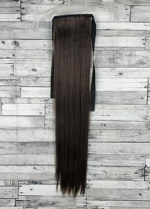 3868 накладной хвост прямой коричневый №6 на ленте шиньон термо  искусственный