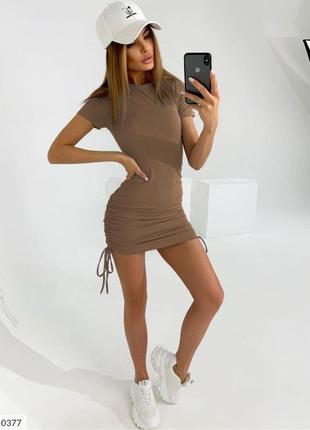 Женское короткое летнее платье на завязках сбоку