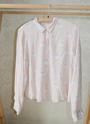 Блуза,  рубашка с лебедями р 14