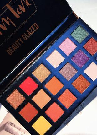 🤩🎨ультрапигментированная палетка теней для век beauty glazed warm tone palette (18 color)
